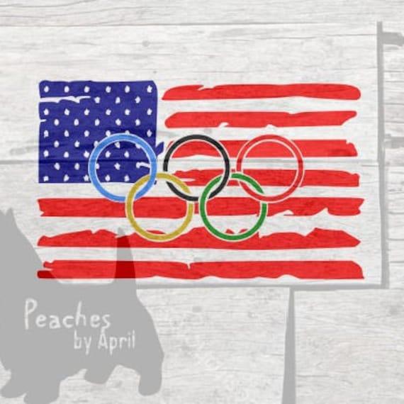 Olympic Rings Over Us Flag Cricut Svg Cut File Us Olympics Etsy