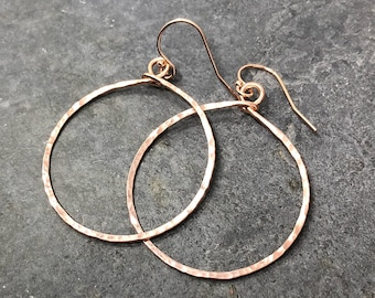 Hoop Earrings, hammered, large, rose gold-filled, free shipping