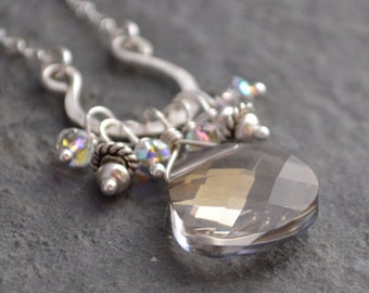 Champagne sparkle necklace, hammered sterling silver and crystal, free shipping