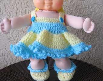 """Crochet Popsicle blue and yellow dress set for 14"""" Cabbage Patch Doll."""