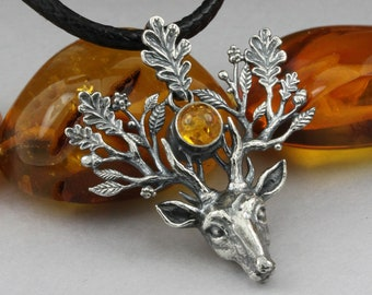 The Light Bringer - silver stag pendant, Baltic amber pendant, silver leaves, oak leaves pendant, silver deer, silver twigs, deer pendant