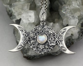 Triple Goddess in flowers with a moonstone - sculpted, sterling silver pendant, pagan, wiccan, moonstone pendant, limited collection