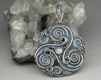 Forest triskele - Celtic pendant, sterling silver pendant with moonstone and oak leaves, moonstone triskele, celtic, limited collection