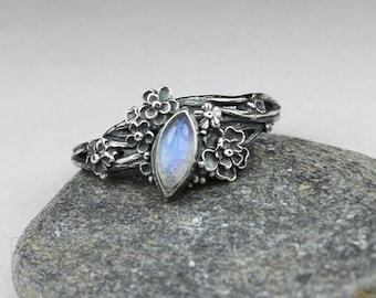 Twig ring - moonstone and silver, asymmetric ring, mooonstone ring, silver flowers, blue moonstone, moonstone marquise, elven ring, shine