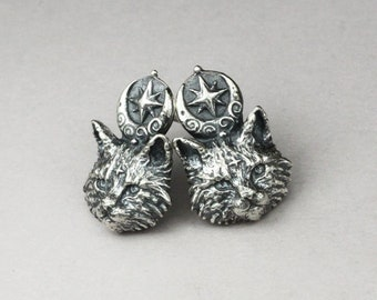 Star kittens, sterling silver cat earrings, tiny cat earrings, cat studs, for cat lovers, moon cats, celestial cat, feline jewelry, cute