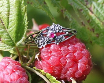 Twig ring - ruby, silver sculpted flowers and twigs, wreath ring, ruby ring, silver twig, silver flowers, silver flower ring, red stone ring