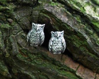 Tiny owl earrings, forest jewelry, cute little owls, owl studs, sterling, silver owls, tiny owls, miniature owls, cute earrings, kawaii