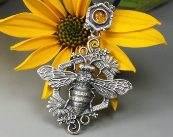 Sacred Bee pendant, sterling silver and amber, miniature honey bee, silver flowers and honeycomb, Baltic amber pendant, magical bee, nature