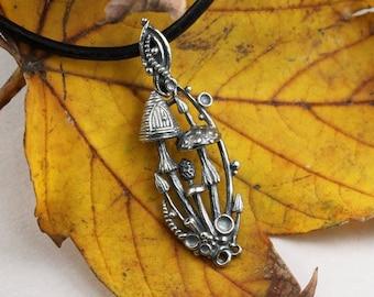 Mushroom magic - silver mushroom pendant, miniature mushrooms, fairy door, silver fairytale, toadstool pendant, silver lichens, botanical