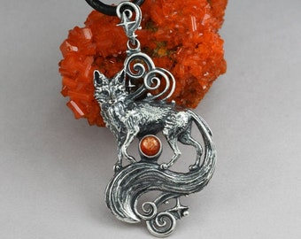 Fox magic - sterling silver fox, fox pendant, sunstone fox, celestial, fox necklace, magical fox pendant, detailed fox pendant, animal magic