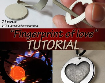 Fingerprint of love TUTORIAL for TOTAL BEGINNERS metal clay pendant, metal clay tutorial, art clay tutorial, metal clay, pmc