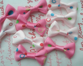 Small polka dots bow ribbons 10pcs