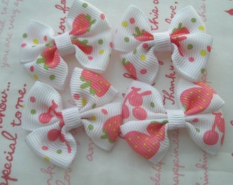 Strawberry and cherry Print bow ribbons 4pcs White