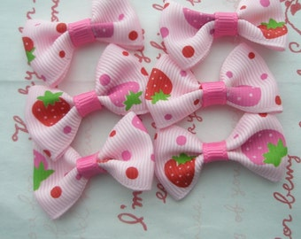 PINK Strawberry with dots Bow 6pcs