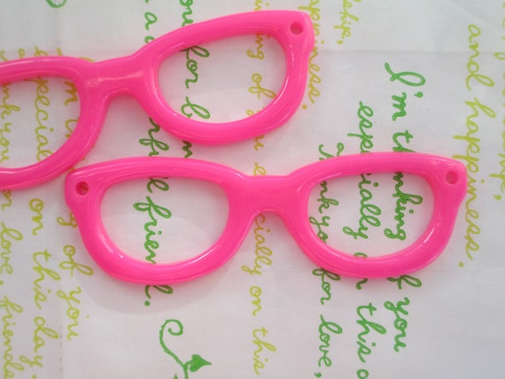64c0a1135d7 Items similar to Super Large Resin Glasses frame charm 2pcs Hot pink 84mm x  26mm on Etsy