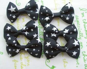 Star Print bow ribbons 6pcs Black with white stars