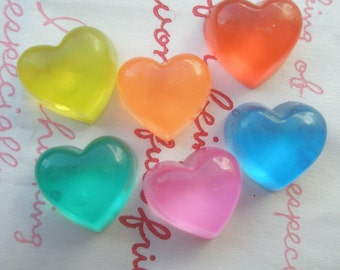 Small Clear Jelly Heart cabochons 6pcs