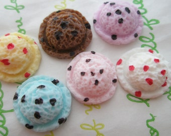Small Ice cream scoop cabochons 6pcs