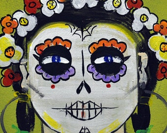 Day of the Dead/Dia de los Muertos/Catrina/Skull/Halloween/Art/Print/Free Shipping