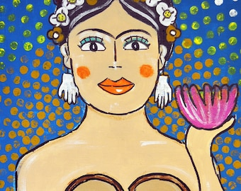 Frida Kahlo, Mermaid, Art, Print, Giclee, Folk Art, Mexican, Artist