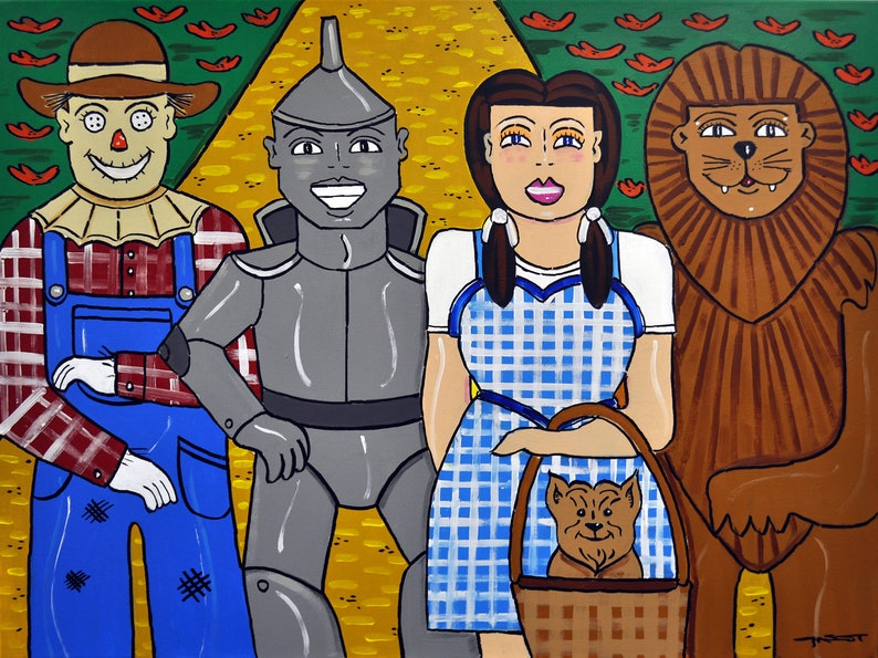 Wizard of Oz, Oz, Yellow Brick Road, Dorothy, Tinman, Scarecrow, Cowardly  Lion, Toto, Classic Films  Musicals, Painting, 30x40