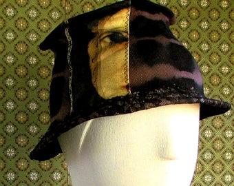 Noir marron Tilt masculine inspiré Wearable Art coton chapeau