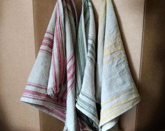 Grain Sack Linen Kitchen Towels Tea Towels Stripe with Hanging Loop