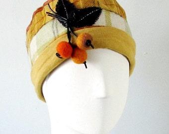 Mustard Plaid _Green Plaid Winter Cloche Hat