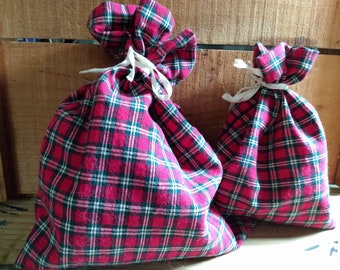 Red Plaid Vintage Cotton Gift Bags with Ties
