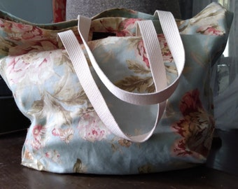 Large Floral Grocery Tote Bag Sustainable