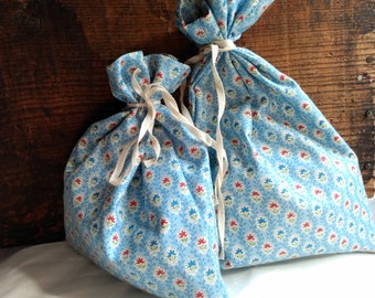 Vintage Fabric Gift Bags Blue Floral Cotton
