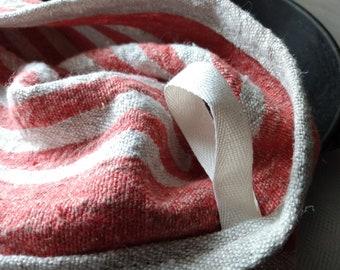 Rustic Linen Kitchen Towels Tea Towels Red Orange and Beige Brown Stripe