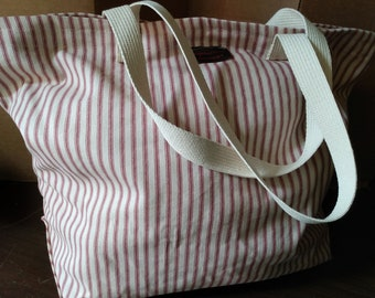 Red Ticking Stripe Grocery Tote Bag RED STRIPE