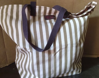 Large Cotton Canvas Grocery Tote Bag Pink and Brown Stripes