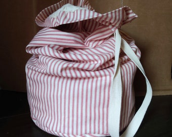 Extra Large Drawstring Bag in Red and White Stripe Ticking