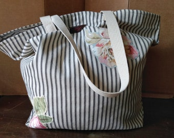 Black and White Ticking Stripe Tote Bag with Floral Applique