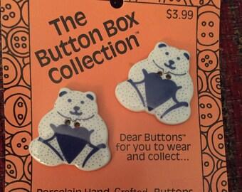 Bear porcelain buttons