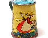 1930s Tin Toy Tea Pot. Storybook Jack Jill by Ohio Art.
