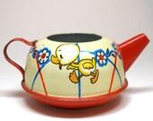 1940s Tin Toy Tea Pot. Baby ducks. Made by Ohio Art.