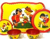 50 39 s Tin Toy Tea Set. Little Gardeners puppy. Ohio Art Co. 7 pieces.