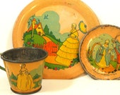 Scarce 1930 39 s Tin toy tea set. Colonial litho by Ohio Art Co. 3 piece setting, cup, plate, saucer.