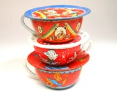 50s Tin Toy Tea Cups Saucers, Set of 6 with lamb, monkey and girls as kittens.