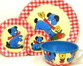 50 39 s Tin Toy Tea Setting, Polka Dot Puppy. By Ohio Art. Vintage collectable