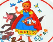 SALE 60s Little Red Riding Hood fairy tale lithograph, childrens tea plate. Larger size.