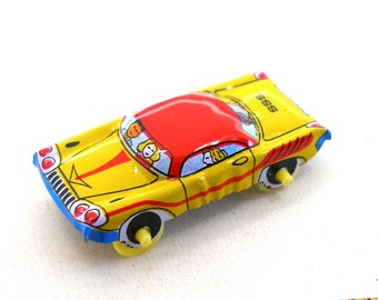 60s Tin Toy Car Red With Blue Yellow Made In Japan Etsy