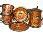 1920s Antique Tin Toy Tea Set. Squirrels with nuts. 5 pieces.