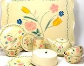 1940 39 s tin toy tea set with Flowers. Litho by Ohio Art Co. 22 piece set.