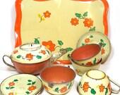 1930s Tin Toy Tea Set. Orange flowers by Ohio Art Co. 11 pieces.