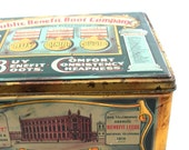 c1910 Antique British shoe tin, Public Benefit, vintage advertising.