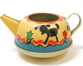 1950s Tin Toy TeaPot. Little Bo Peep. Made by Ohio Art.